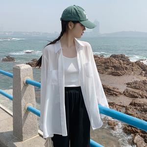 白色雪纺防晒衣女2021新款长袖衬衫