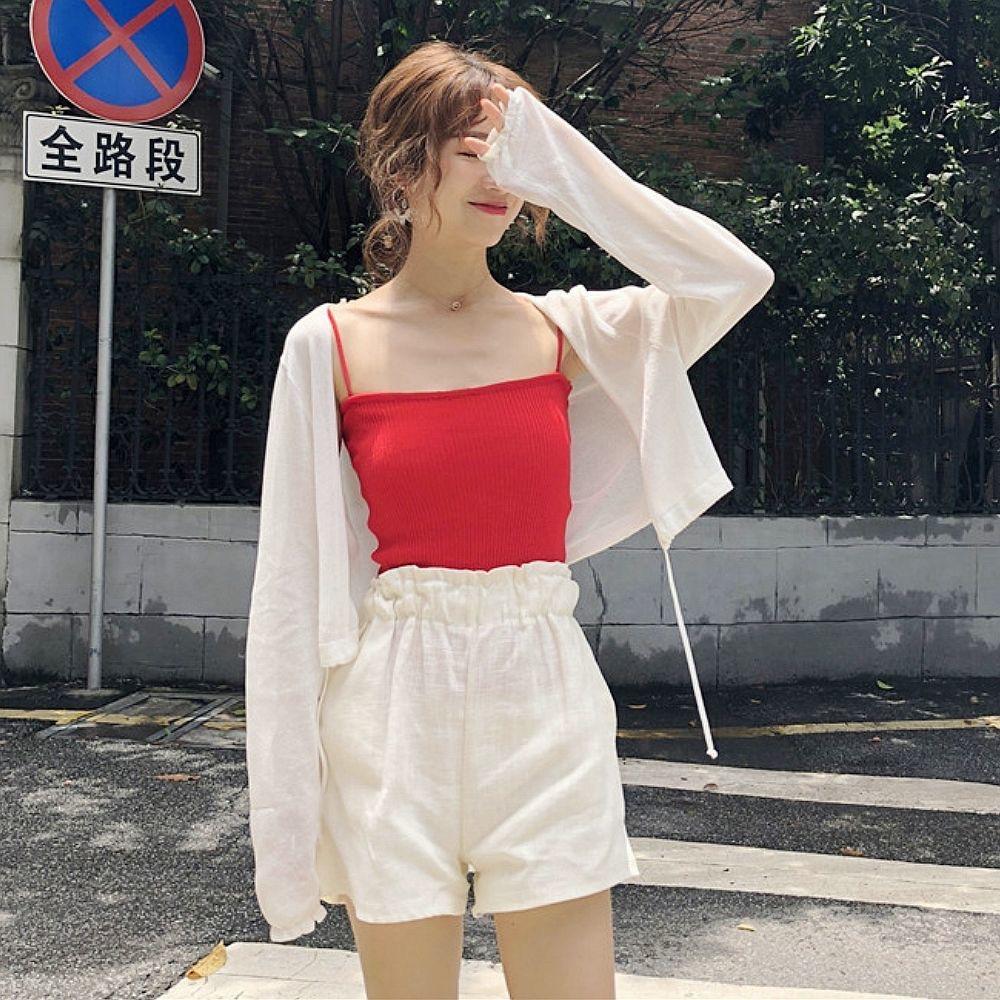 衣女新款涤纶其他短款学生韩版薄外套夏季外搭的开衫雪纺小披肩服