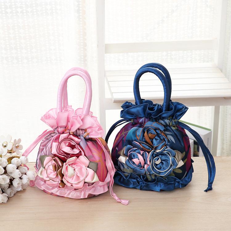 中國代購 中國批發-ibuy99 女士包 逛街买菜手拎小包 手机包 中年抽带水桶小布包女式女包