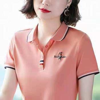 纯棉t恤女短袖新款带领翻领运动polo衫