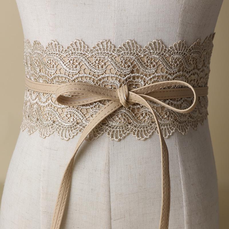 New lace waistband dress wide waist cover black womens waist f bandwidth lace tassel chiffon shirt decoration