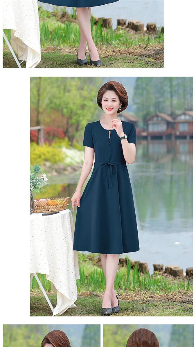 Mothers day new clothes mother is wearing now skirt dress solid color lotus 6 bags lace up summer dress