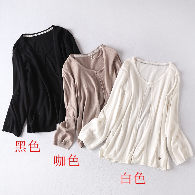 D32 spring and autumn new a womens wear solid color simple shawl small coat 100 a with basic cardigan long sleeve wool knitting
