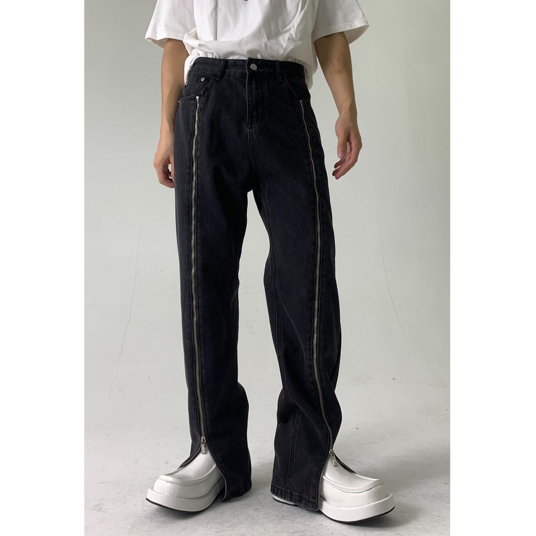 nirben  前拉链设计牛仔裤韩版直筒宽松中腰显瘦拖地长裤