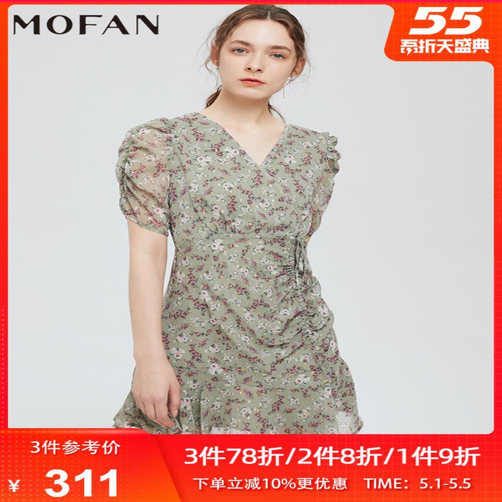 MOFAN2021夏新款绿色甜美V领泡泡袖雪纺裙短袖法式碎花连衣裙显瘦