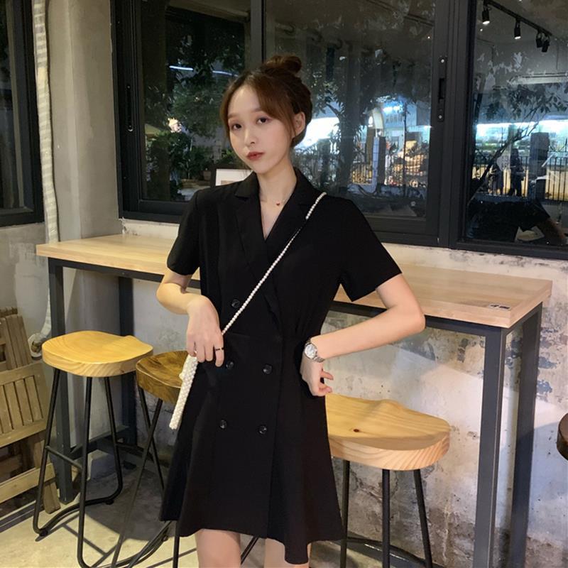 中國代購|中國批發-ibuy99|西装裙|黑色中长款连衣裙女夏收腰显瘦双排扣短袖小个子西装领学生裙子女