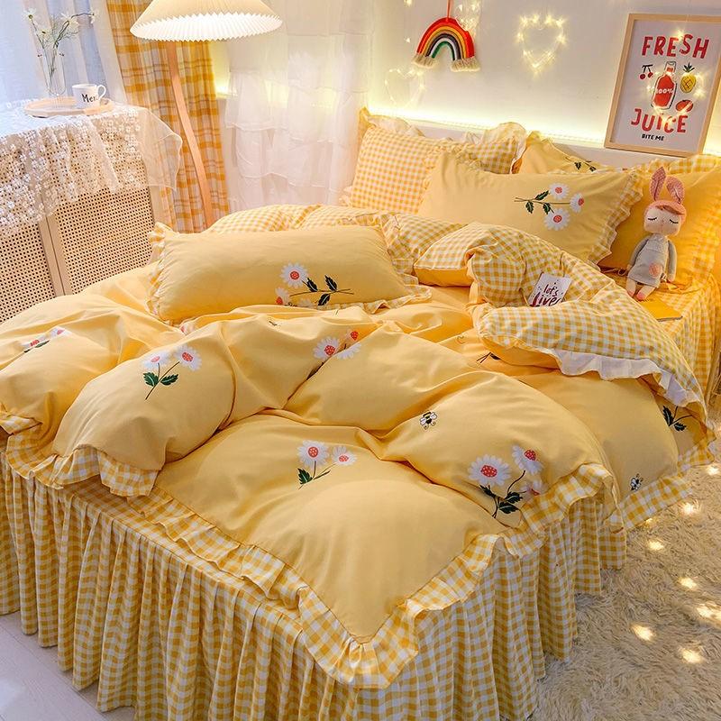 中國代購|中國批發-ibuy99|床上用品|ins网红床裙四件套加厚公主风亲肤磨毛被套床单三件套床上用品4件