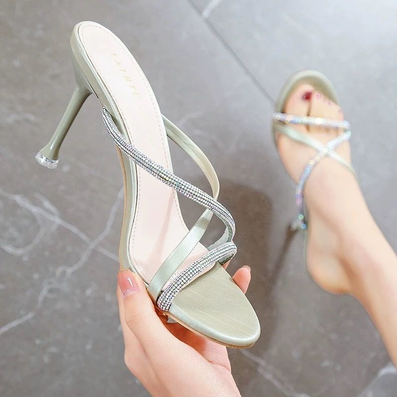 High grade toe heel dew 0 sandals womens 2 thin 20 summer new versatile one line belt P easy to wear net red personalized high heels