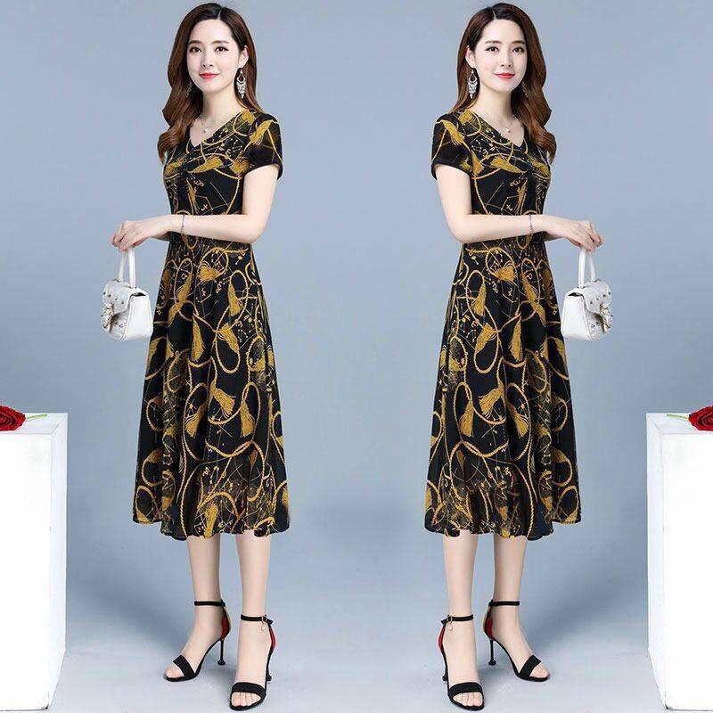 中年老年碎花连衣裙夏季女装中长款大码新款修身显瘦减龄妈妈裙装