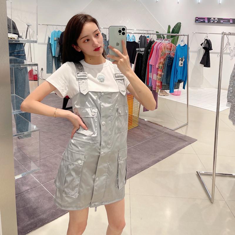 2021 summer e season new loose casual pocket work dress suspender medium length dress suspender skirt womens Korea