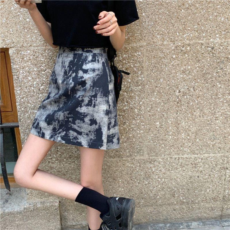 中國代購|中國批發-ibuy99|短裙|2021新款夏款高腰显瘦韩版百搭扎染半身裙包臀裙学生a字短裙女