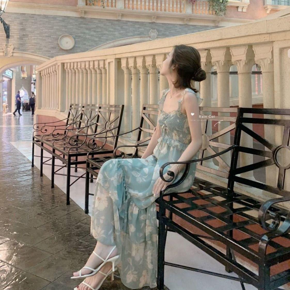 中國代購|中國批發-ibuy99|雪纺裙|2021新款雪纺裙子女学生韩版夏季ins荷叶边吊带连衣裙超仙女长裙