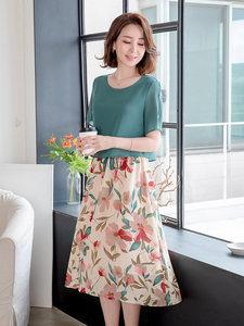 妈妈夏装气质雪纺连衣裙40岁50中年女士宽松长裙中老年女装直筒裙
