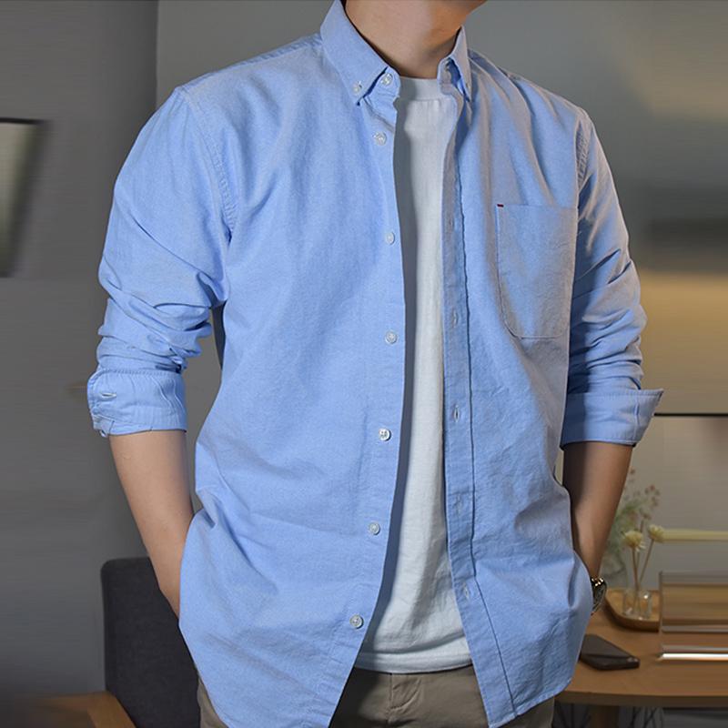 Sasan white shirt mens long sleeve autumn loose casual top black business mens solid oxford blue shirt