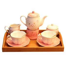 2017粉嫩少女心日式套装下午茶欧式茶具樱花陶瓷花茶浮雕咖啡杯图片