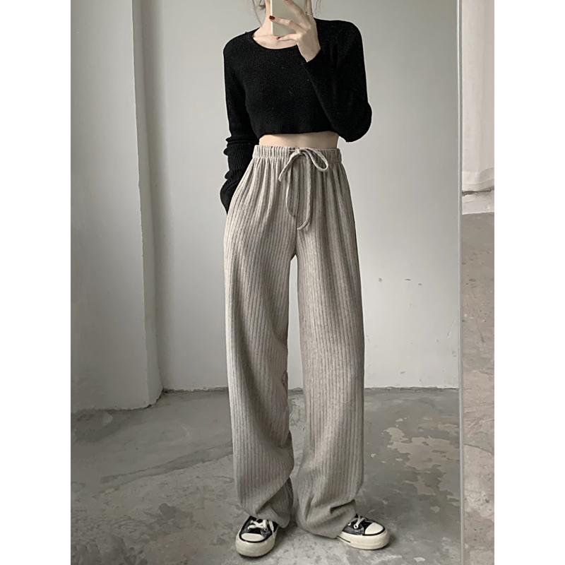 Three standard Qi Korean version pit Stripe Drawstring elastic straight wide leg pants sports pants long pants