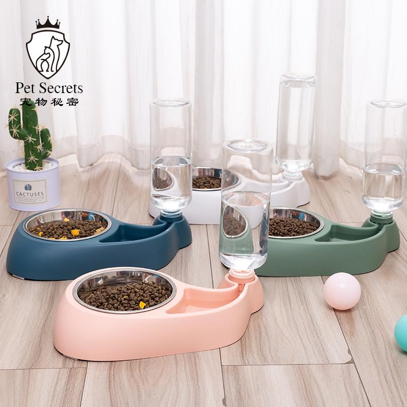 狗盆狗碗猫碗双碗自动透明饮水食盆狗狗碗防打翻小型饭盆宠物用品
