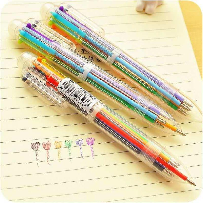 中國代購 中國批發-ibuy99 圆珠笔 6色圆珠笔彩色笔芯 可爱6色合1按动多色笔网红五颜六色的笔彩芯笔