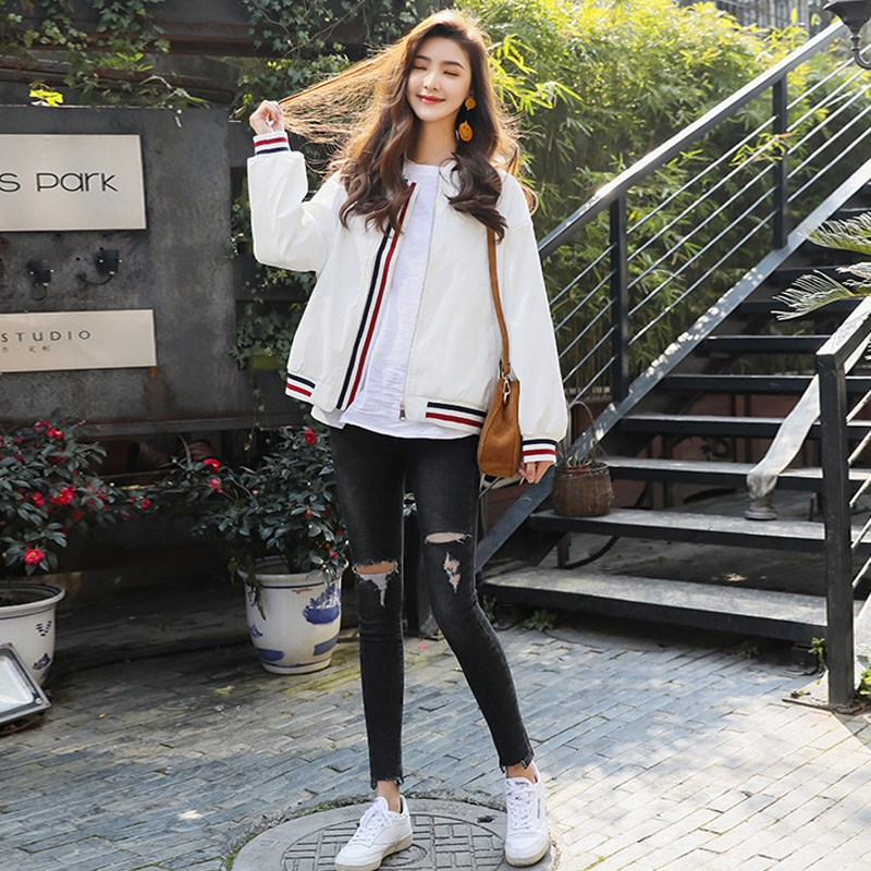 Small sports leisure jacket womens 2021 new spring wear Korean loose short jacket spring and autumn baseball suit