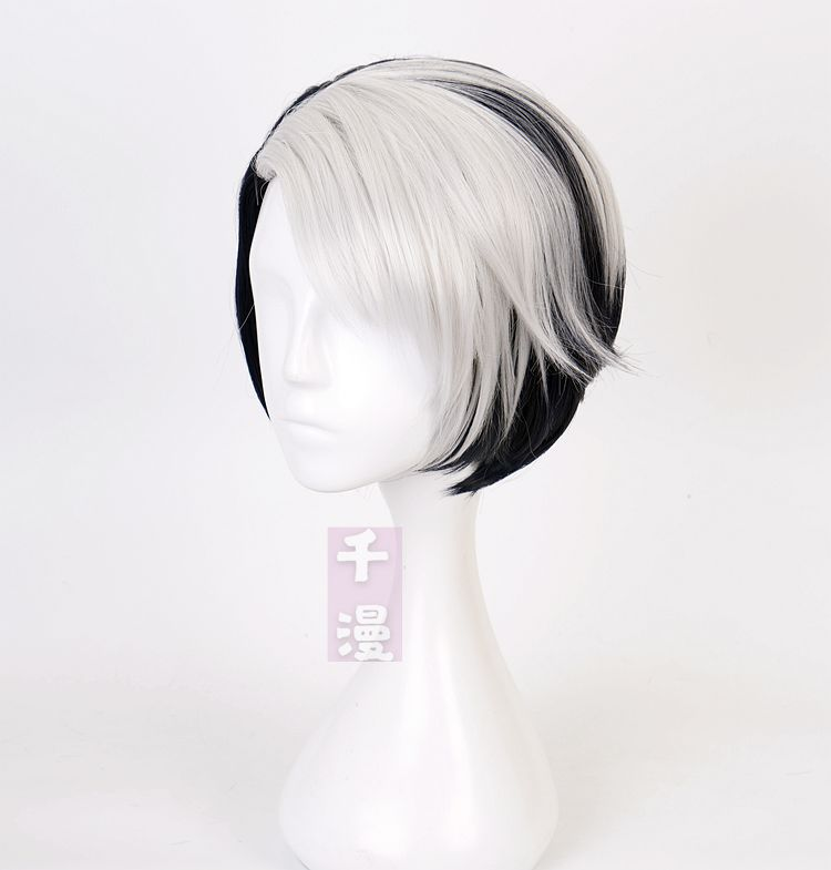 [fake man] a twisted fairyland Divus Cosplay Wig Black and white color matching role play qianmao