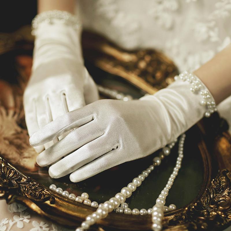 High grade white satin all finger Hepburn Style Bridal Gloves Wedding Dress with finger knot wedding gloves luxury