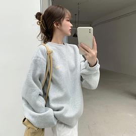 糖果色卫衣女生韩版潮学生宽松bf慵懒风春季加绒套头圆领上衣外套