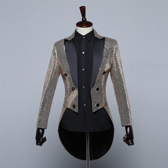 Top grade mens Sequin tuxedo stage performance dress magician coat nightclub bar host bel canto new performance