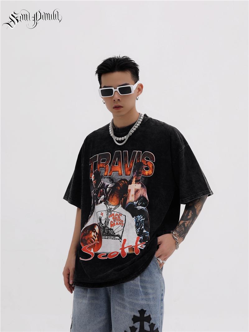 Sol panda Vintage Print crew neck Pullover trendy street shot loose American figure print mens Short Sleeve T