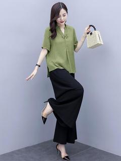 品牌棉麻套装女夏装洋气减龄时尚2021年新款时髦遮肚子女装两件套