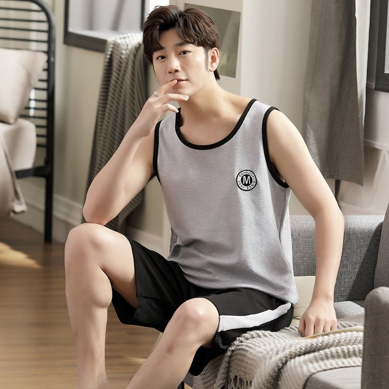 Mens pajamas summer cotton suit mens ultra-thin loose oversized sleeveless vest Home E clothes can be taken out