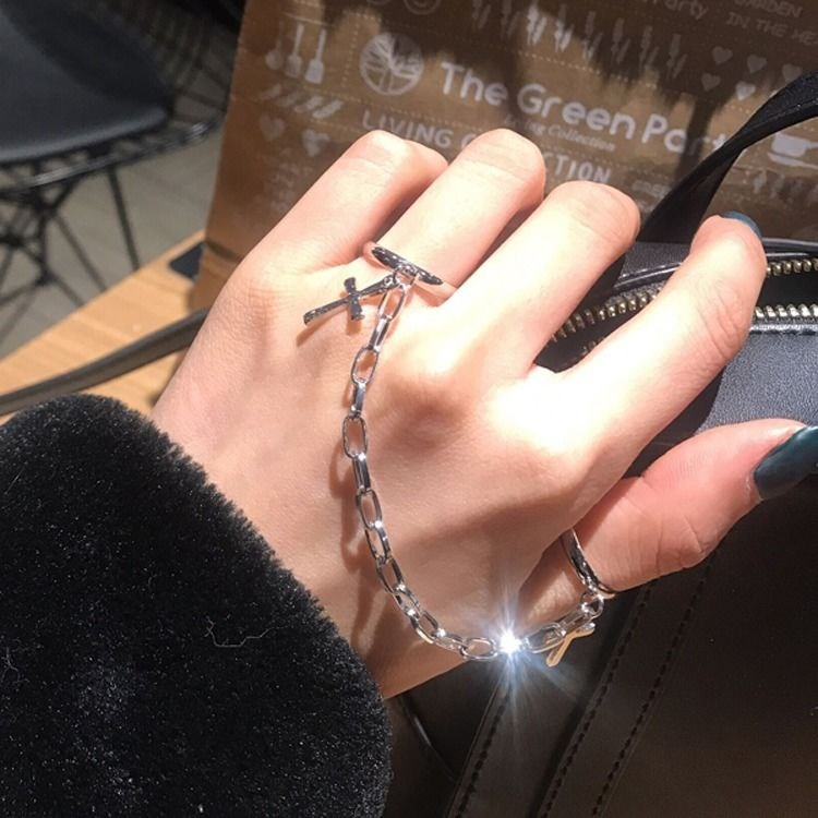 Korean ins personalized ring chain adjustable joint ring mens and womens hip hop nightclub Gothic clothing accessories trend