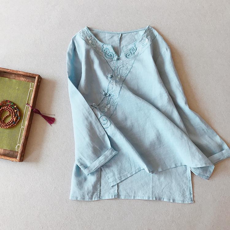 民族风复古文艺范r刺绣棉麻上衣女秋装长袖中国风衬衫中式盘扣茶