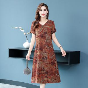 中老年女夏装短袖v领连衣裙妈妈香云纱宽松大码遮肚显瘦气质裙子