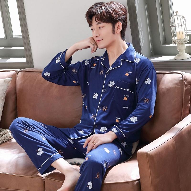 男士春秋款棉质长袖长裤开衫青睡衣