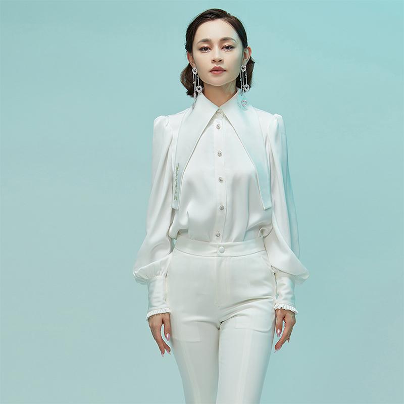 SasarZ设计师品牌2021秋装新款女士衬衣上衣细长领刺绣logo衬衫