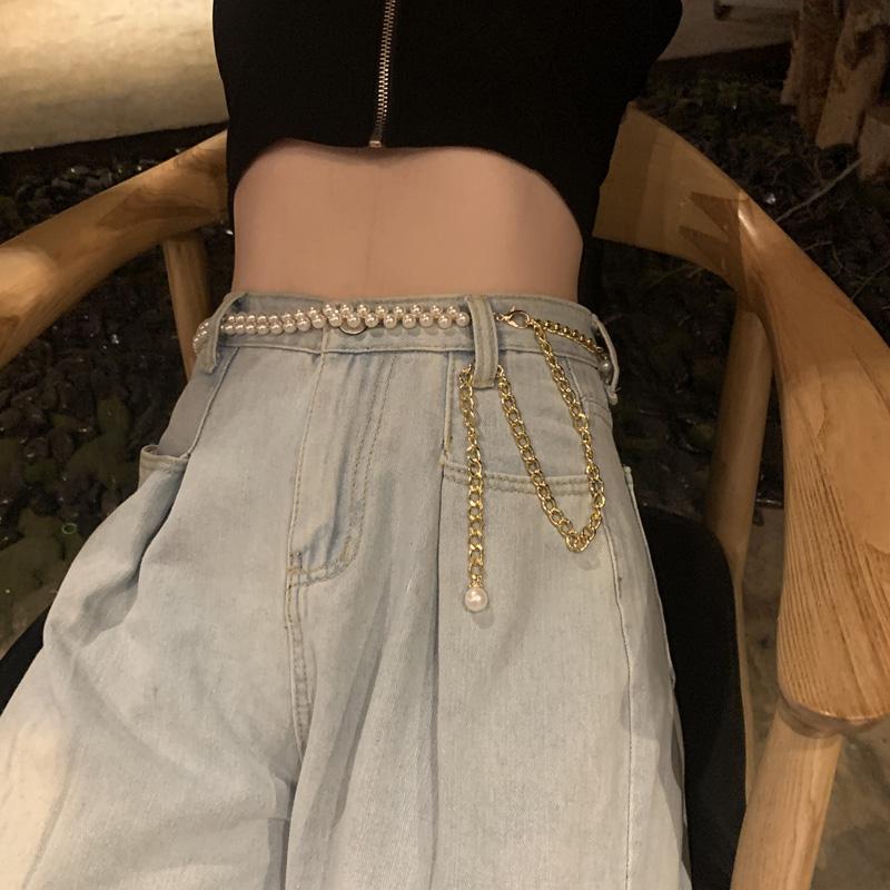 High grade pearl waist chain versatile belt womens decorative dress with JK grid skirt T-shaped belt body luxury