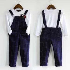 春秋装亲子装 母女装格子连体背带裤韩版亲子装T恤套装母子装