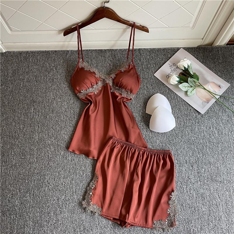 新款冰丝吊带修身睡衣女夏蕾丝性感带胸垫短裤睡衣两件套家居服薄