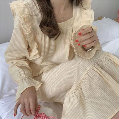 2021年春秋新款韩版网红公主风长袖睡衣女长款宽松睡裙甜美家居服