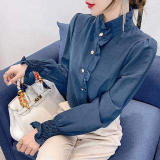 早秋款雪纺衬衫女装秋装2021年新款欧货时尚小衫高档洋气上衣气质