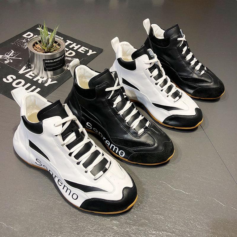 男鞋秋冬季新款加绒休闲运动老爹鞋ins潮高帮精神小伙流行一体鞋