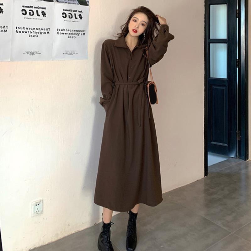 2021新款秋冬季法式长裙女装气质韩版复古桔梗赫本风打底连衣裙子