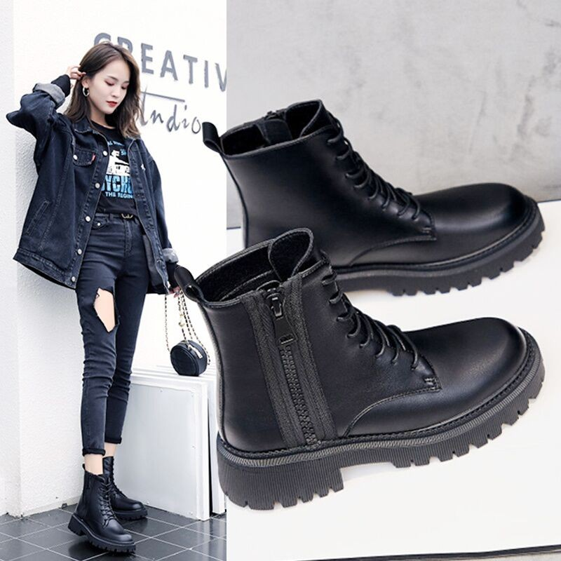 Thick soled Martin boots autumn 2021 new small tall retro lace up black thin boots short boots womens shoes