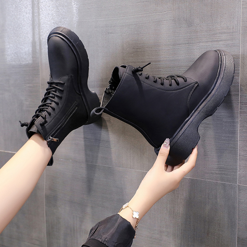Increased Martin boots womens autumn and winter 2021 new thick bottom short barrel British style retro locomotive lace up thin single boots