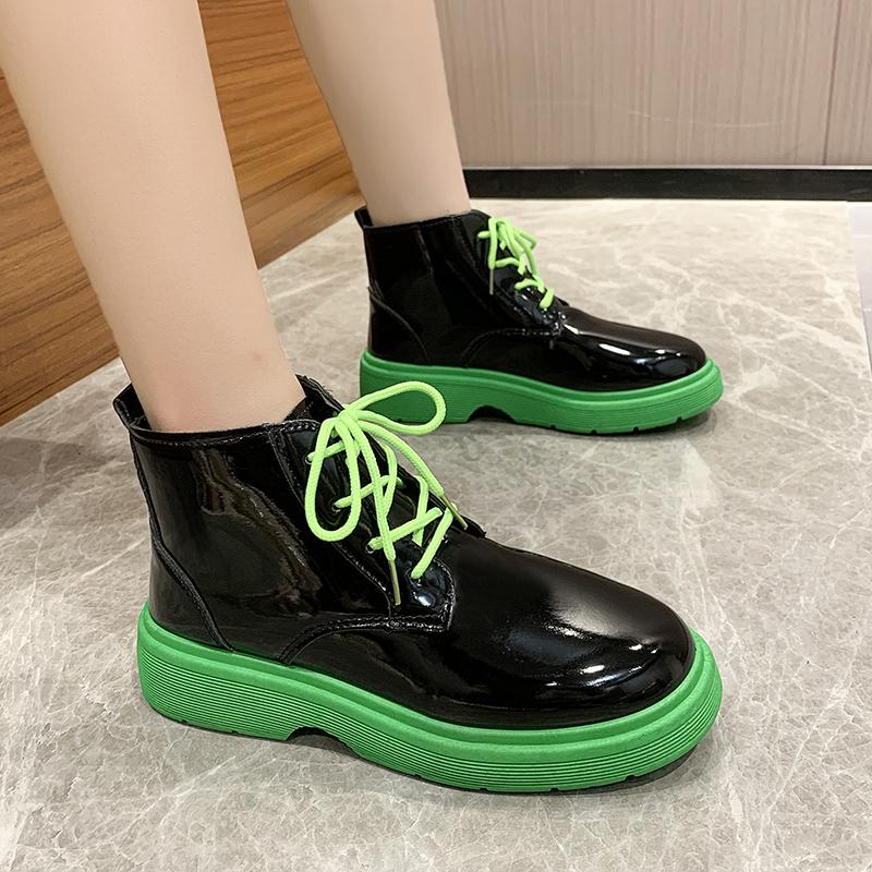 Korean Short boots womens spring and autumn 2021 new green bottom thick heel thick bottom British style lace up Vintage boots