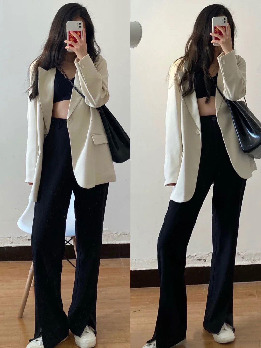 2021秋冬新款西装外套休瘦闲宽松版显女气翻领韩炸街质西服口袋