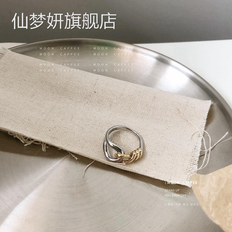 黄铜镀保色真金时尚气质设计感金属双色戒指冷淡风s韩国指环潮