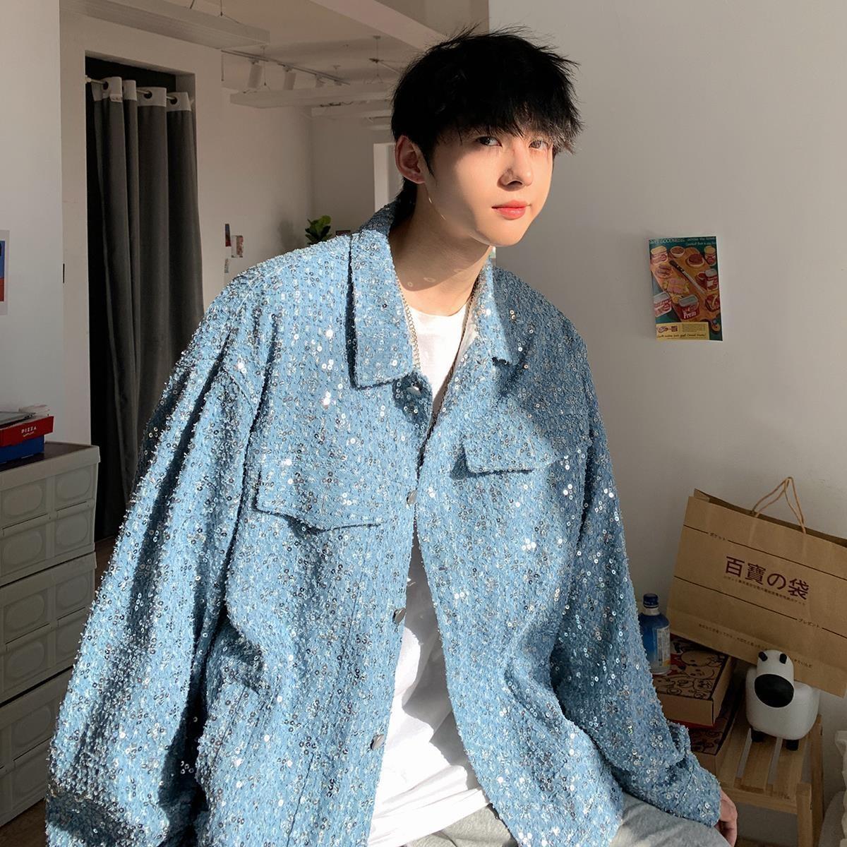 Autumn winter jacket mens spring and autumn Korean version trend Sequin craft clothes autumn ins tide brand high sense fried Street coat