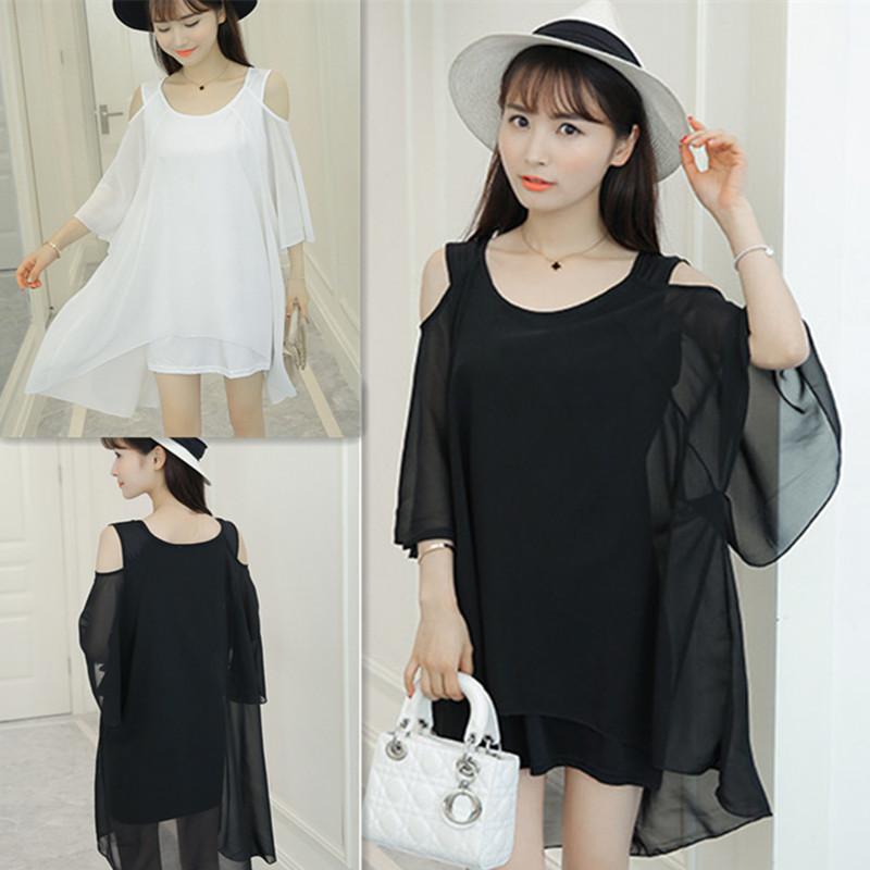春夏季连衣裙2020女装新款韩版大码露肩假两件雪纺衫短裙子潮