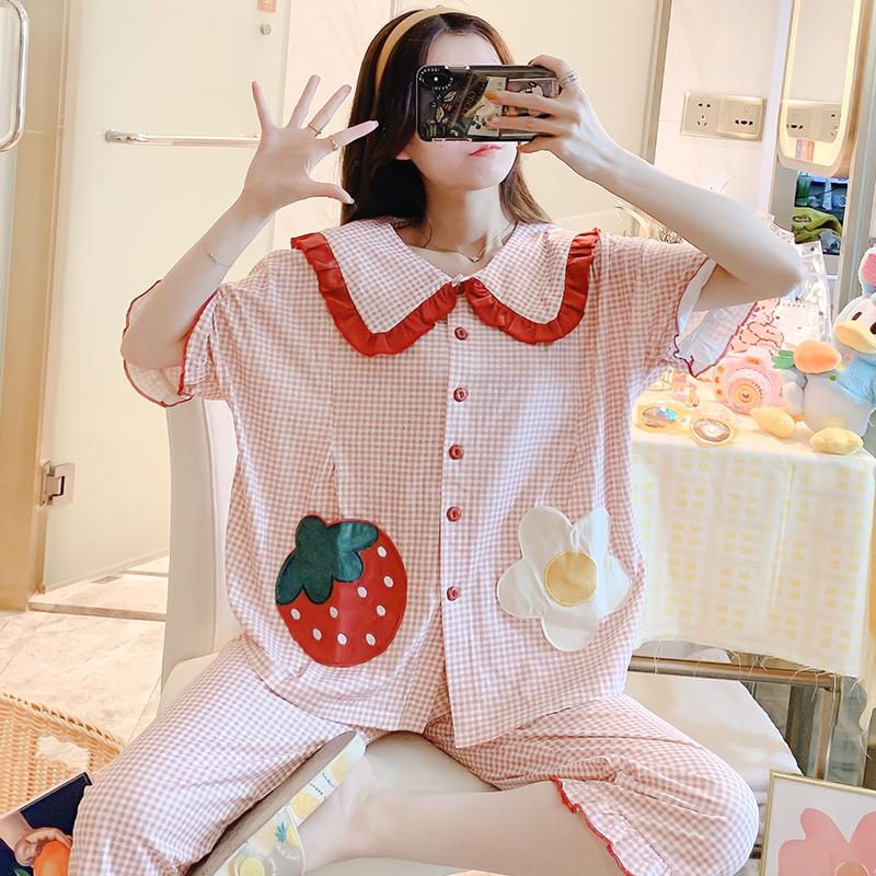 实拍100%纯棉月子服春夏新款短袖女孕妇睡衣哺乳喂奶家居服女套装